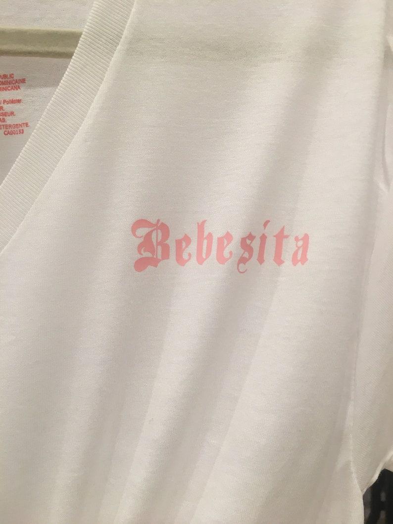 Women\u2019s Apparel Pink Bad Bunny Bebecita Reggaeton Custom Women\u2019s V-Neck women/'s fashion Karol G Bebesita Shirt