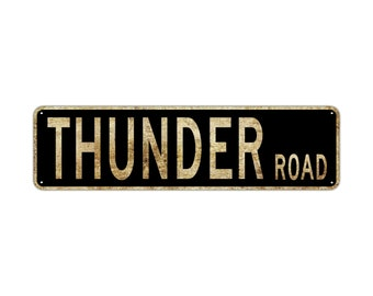 THUNDER ROAD Street Sign Rustic Vintage Retro Metal Decor Wall Shop Man Cave Bar