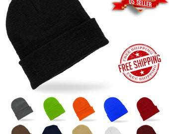 Solid Plain Super Soft Warm Beanie Ski Cap Hat Knit Cuff Warm Slouchy Unisex Multicolor Winter Ear Warm Comfort Skull Cap