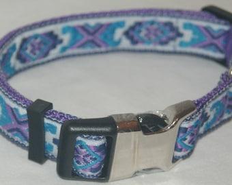 Dog Collar: Purple Jacquard ribbon Design 20mm 3/4 inch Medium