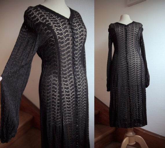 Sheer Black Lace 1930s Dress with Long Sleeves and