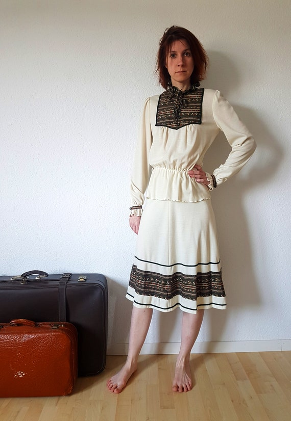 Deadstock 1970s Skirt and Blouse Set with Forest G