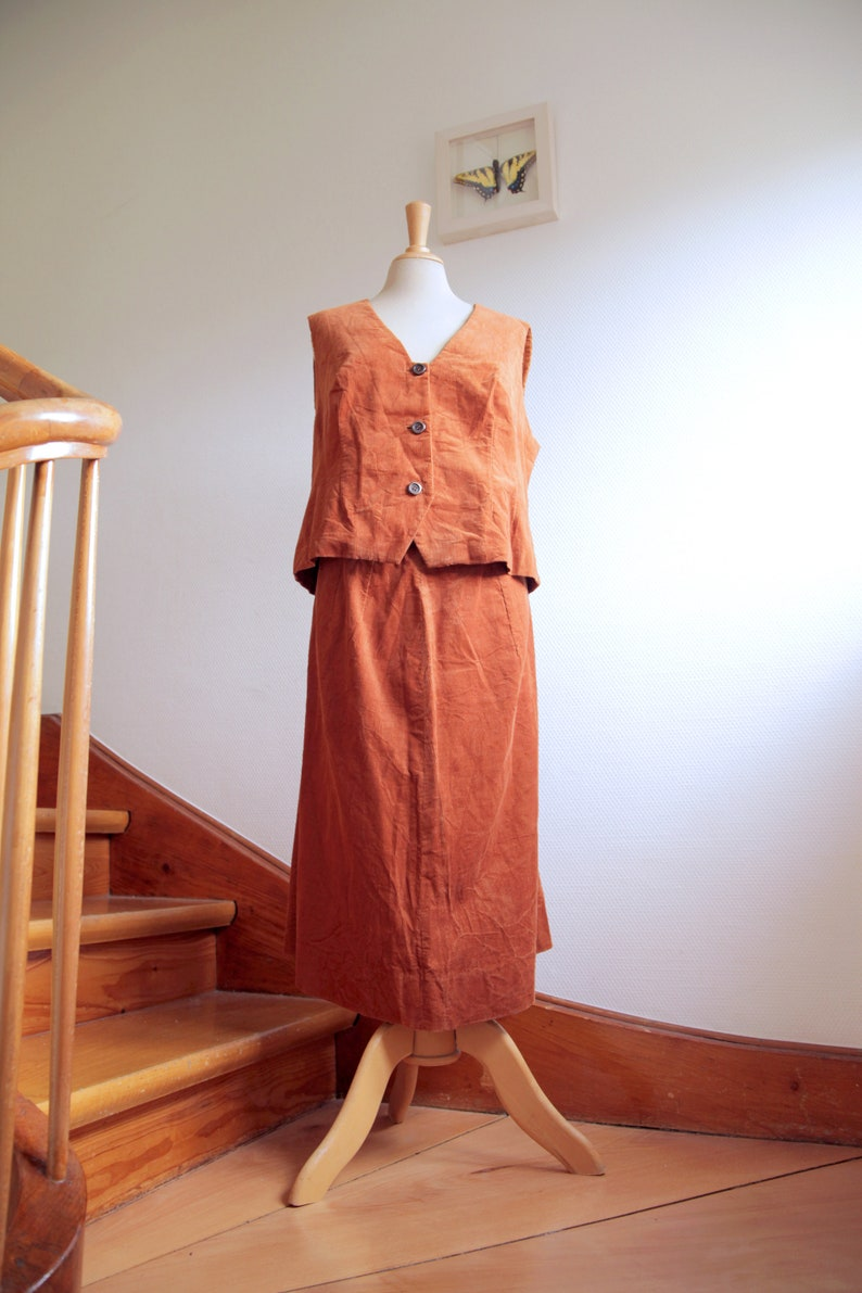 Orange Brown Corduroy 1970s Skirt and Vest Two Piece Ensemble Handmade