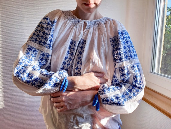 Etheral 1970s Romanian Peasant Blouse with Blue Ha