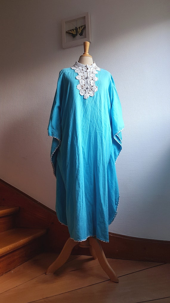 Bright Blue 1970s Cheesecloth Kaftan Dress with Wh