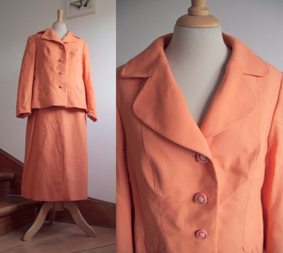 Orange 1970s Two Piece Skirt and Blazer Suit with