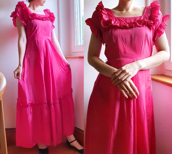 Raspberry Red 1940s Rayon Evening Gown with Ruffle