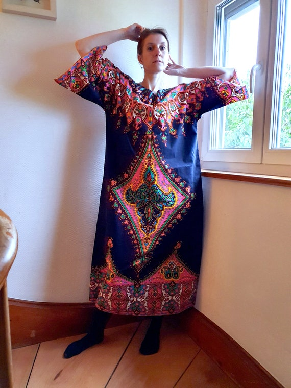 Incredible 1970s Cotton Kaftan Dress with Large Fo