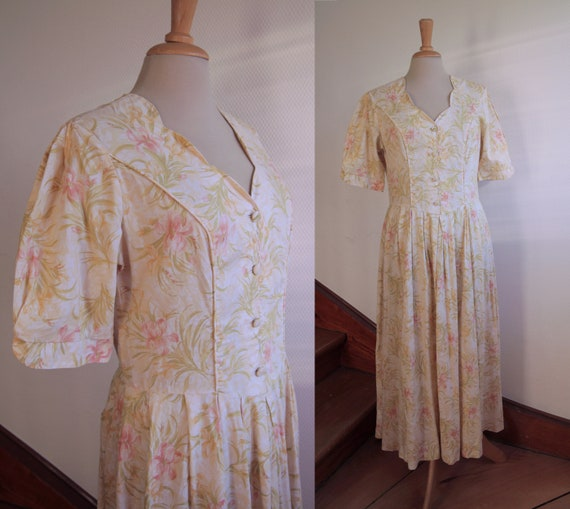 Ankle Length 1980s Laura Ashley Cotton Day Dress w
