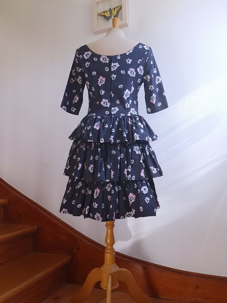 Charcoal Grey Floral 1980s Laura Ashley Midi Dress with Tiered Ruffeled Skirt