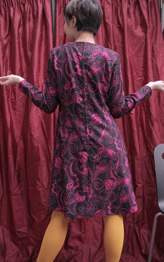 Handmade Black and Hot Pink 1970s Midi Day Dress … - image 6
