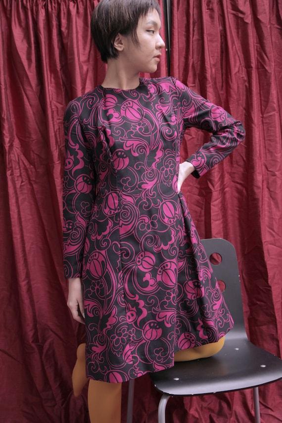 Handmade Black and Hot Pink 1970s Midi Day Dress … - image 2
