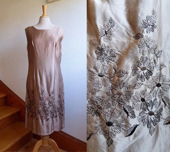 Bronze Satin 1970s Evening Shift Dress with Floral