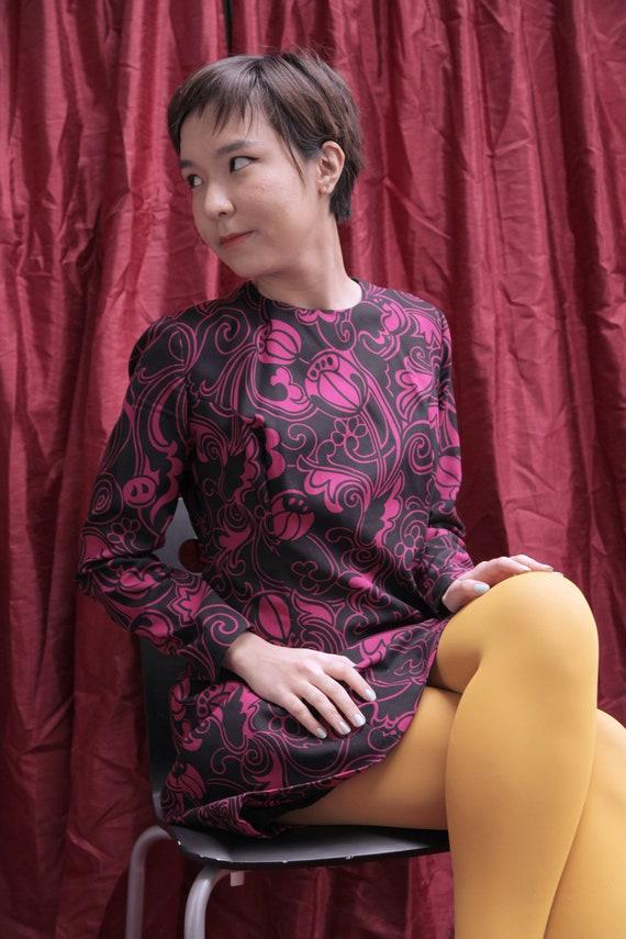 Handmade Black and Hot Pink 1970s Midi Day Dress … - image 3