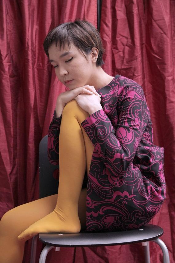 Handmade Black and Hot Pink 1970s Midi Day Dress … - image 10