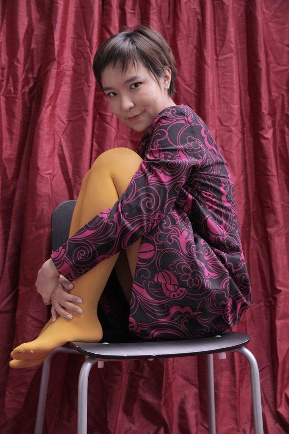 Handmade Black and Hot Pink 1970s Midi Day Dress … - image 7
