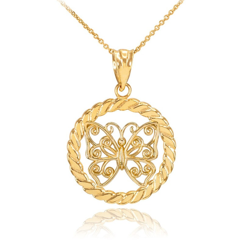 Gold Filigree Butterfly in Circle Rope Pendant Necklace