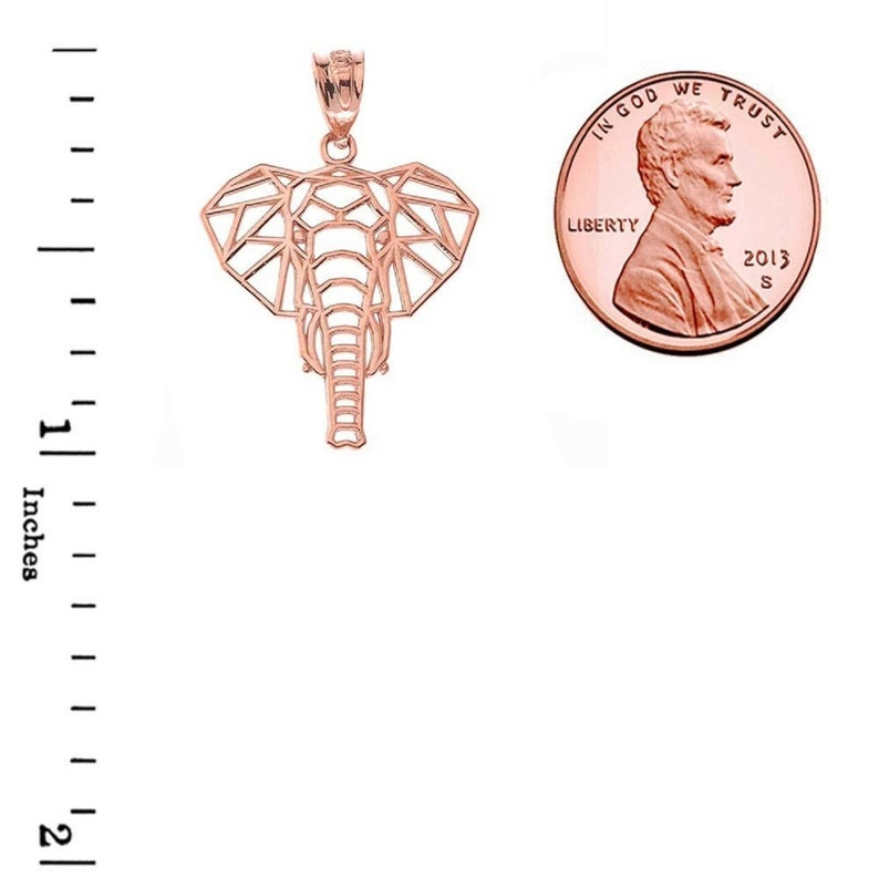 Origami Elephant Pendant Necklace in Rose Gold \u2022 Rose Gold Elephant Pendant \u2022 Elephant Pendant Necklace \u2022 Origami Rose Gold Pendant