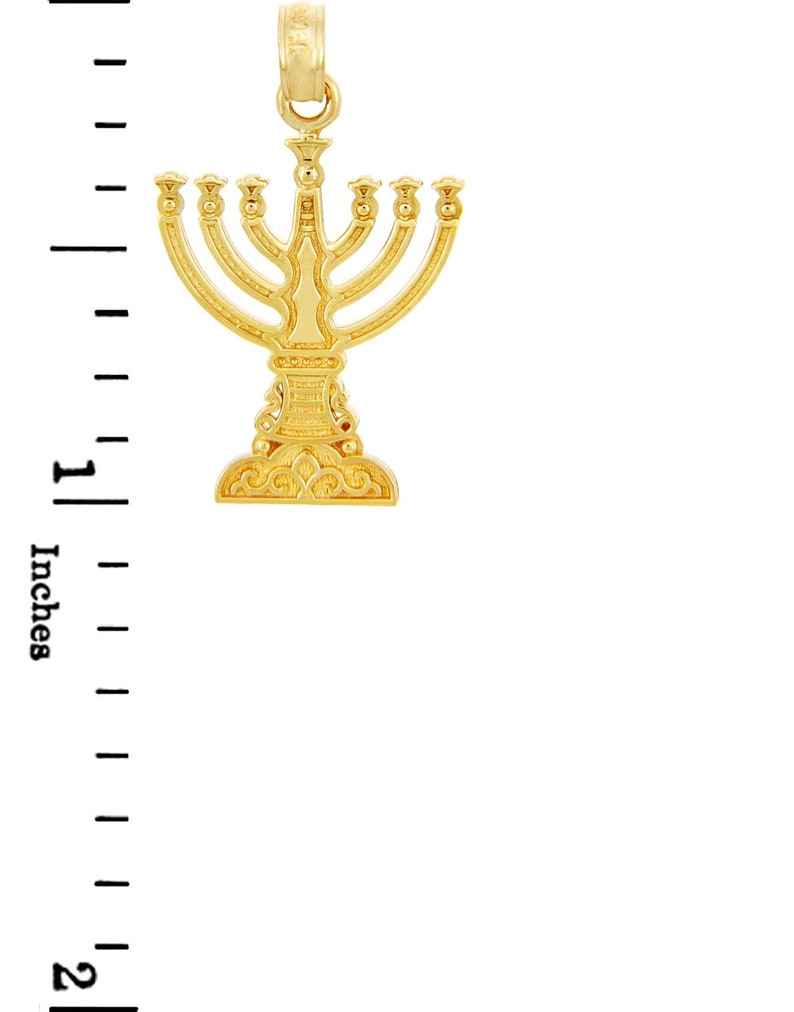 Jewish Gold Pendants Menorah Yellow Gold Pendant