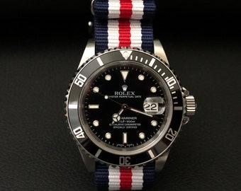 7432e4d3a PREMIUM NATO 20mm Watch Strap Military Grade Blue/White/Red