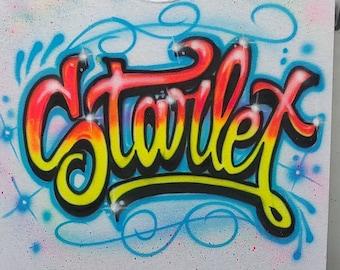 Airbrushed Script Graffiti T-Shirt | Airbrushed Cursive Name | Cute Airbrush Shirt | 80's Fashion | Pop Culture tee