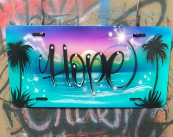 Cute Beach Scene License Plate | Custom Plate With Any Name | Airbrushed License Plate | Custom Tags | Airbrushed Car Tag