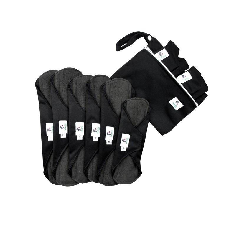 9 pcs Set with VELCRO  Black Reusable cloth sanitary towels image 0