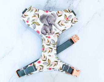 Woodland Elephant Dog Harness – adjustable soft dog harness – Handmade in the UK
