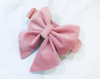 Peony Pink velvet dog sailor bow – for wedding – birthday –engagement
