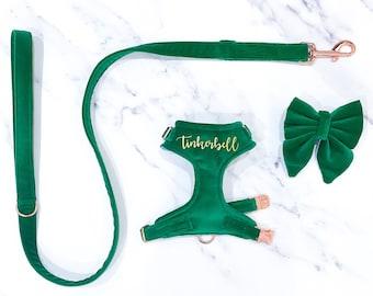 Bright Green Velvet Dog Harness Set – Leash – Personalise with name – Handmade in UK