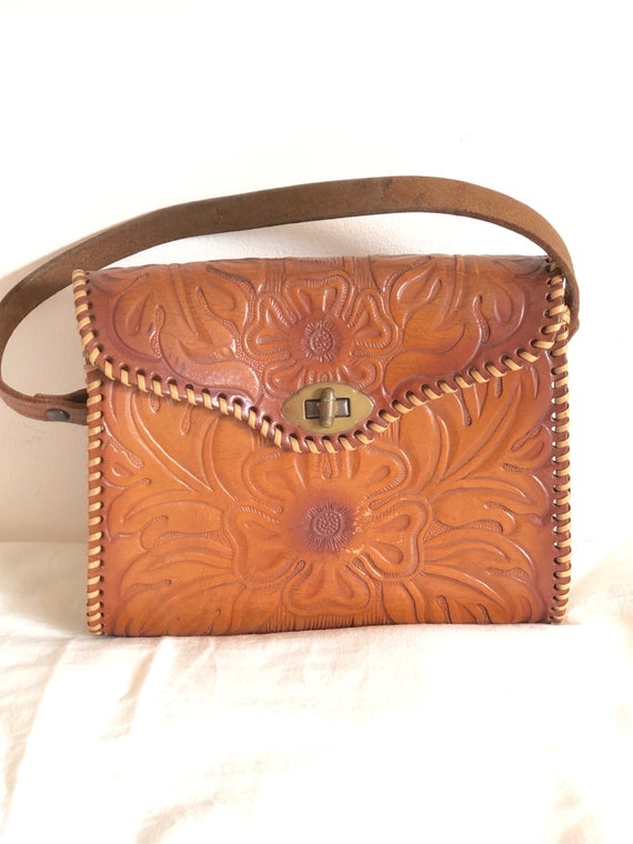 vintage tooled leather tiny handbag collectible pu