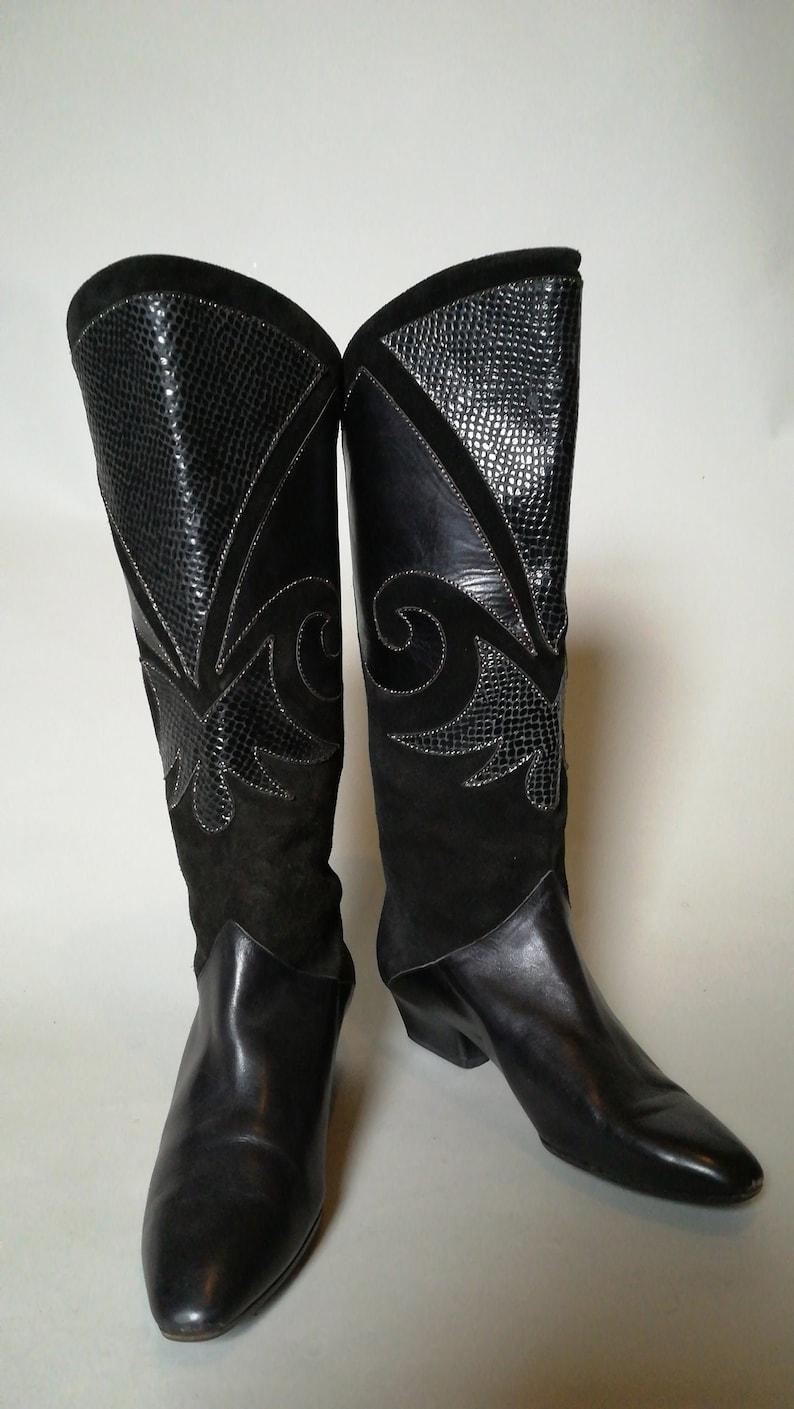 02e10b96185 80's Carvela Vintage Mid Calf Black Leather Boots / Women's Vintage Boots -  UK 4