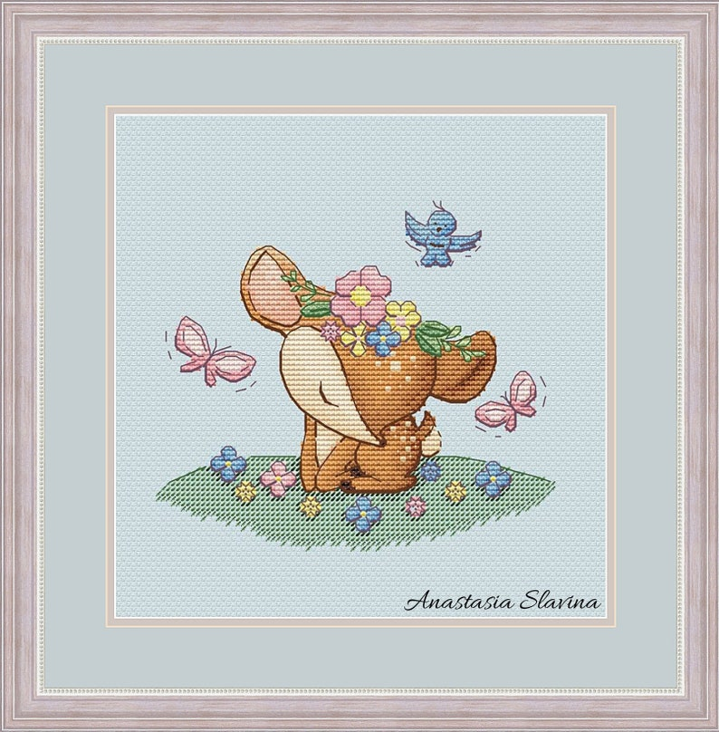 Cute deer baby girl in flowers with birds and butterfly, spring design  cross stitch pattern (instant download) cross stitch saga