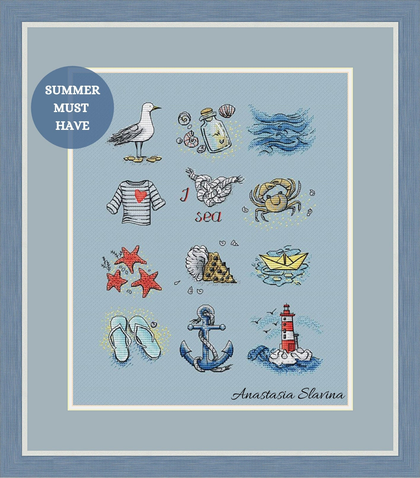 Summer sea time cross stitch sampler with anchor, lighthouse, seashells,  jar (instant download) cross stitch saga