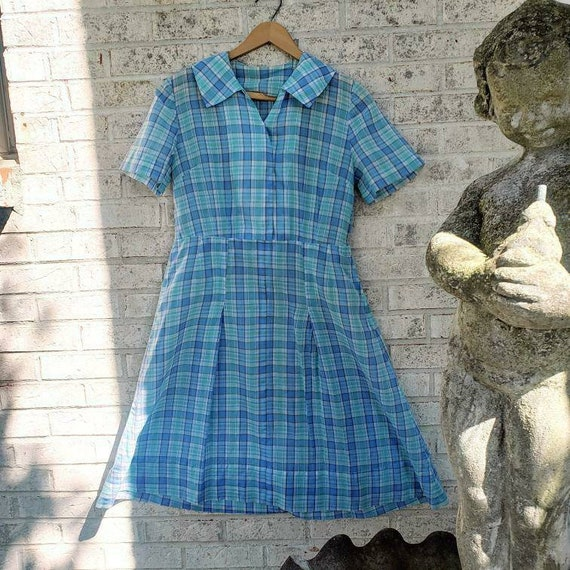 Vintage 1930s icey blue work dress!!