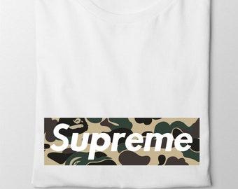7b7a10af7b6 Supreme Green army Camouflage Logo Unisex t shirt women t-shirt Green Camouflage  supreme Unisex shirt Gift For women t shirt