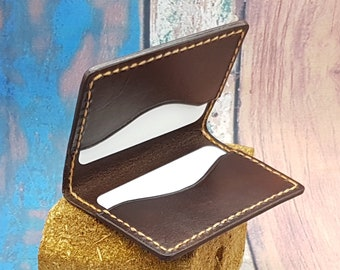 12e568a0a54c72 Leather Card Case/Bifold Card Case/ Credit Card Holder/Slim Card Case/Slim Card  Holder/ Handmade to Order in Choice of Colours