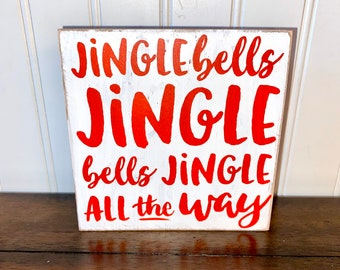 Tiered Tray Sign Shelf Sitter 3D Wood Christmas Sign Jingle Bells Wood Sign Holiday Decor