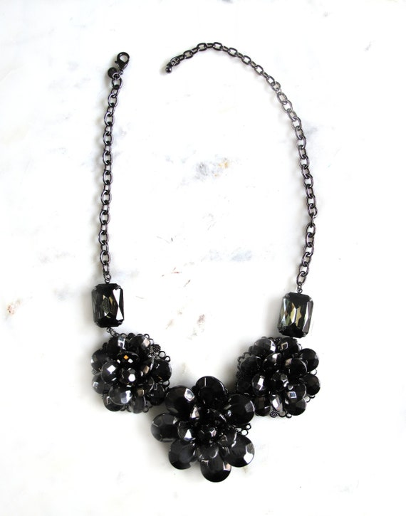 Signed Joan Rivers Necklace Black metal flowers Co