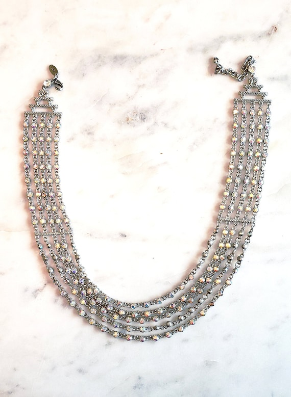 Silver Iridescent 5 Strand Necklace Designer: Arno