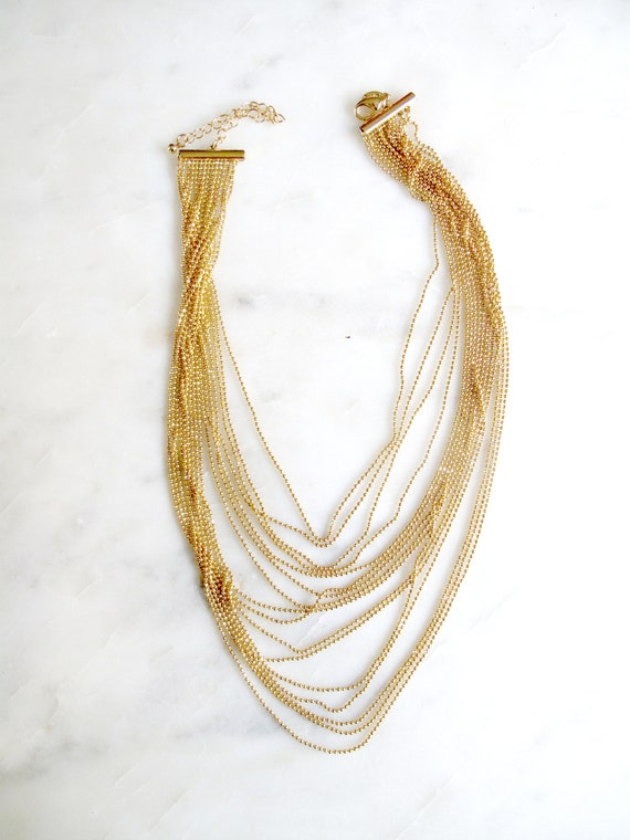 Vintage Joan Rivers 10 Strand Gold Chain Necklace