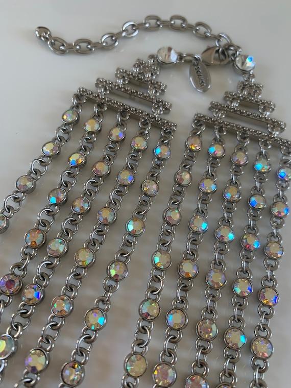 Silver Iridescent 5 Strand Necklace Designer: Arn… - image 1