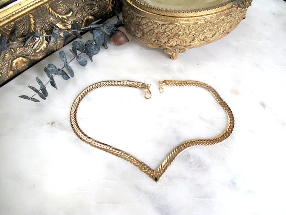 Vintage Joan Rivers Herringbone V Chain Necklace