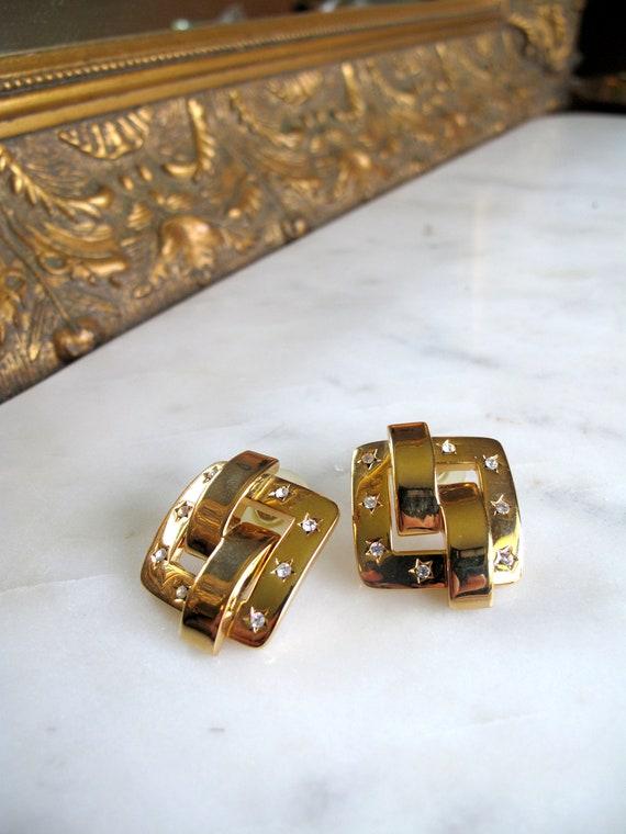Joan Rivers -rhinestone square- clip Earring - set