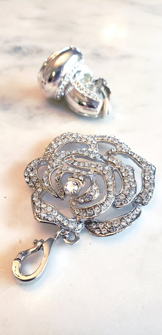 Vintage Rose Pendant with Clip Earrings Set
