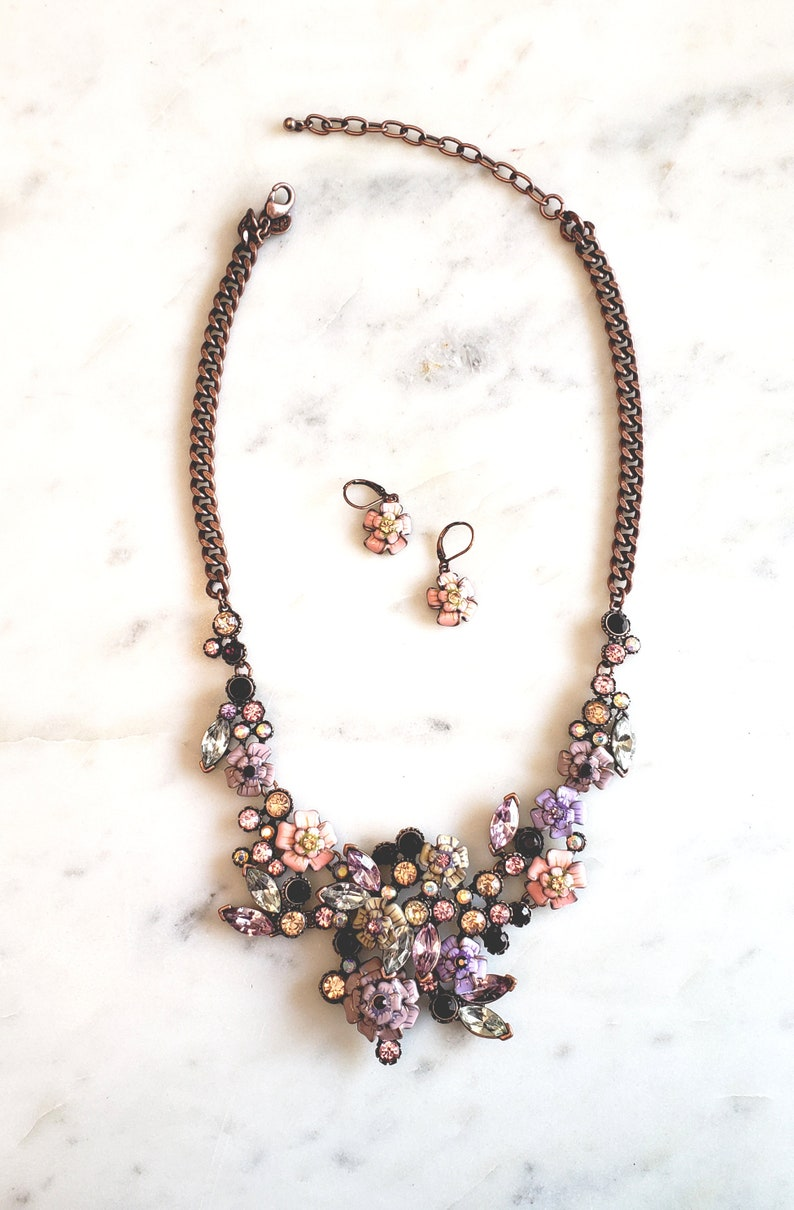 peach Classic collection set Designer chunky flower necklace pink rose gold Joan Rivers flower earrings-purple