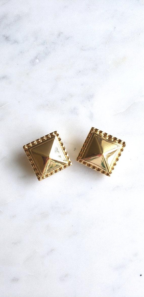 Sandie Miller Burrows Pyramid-gold-Clip- earrings