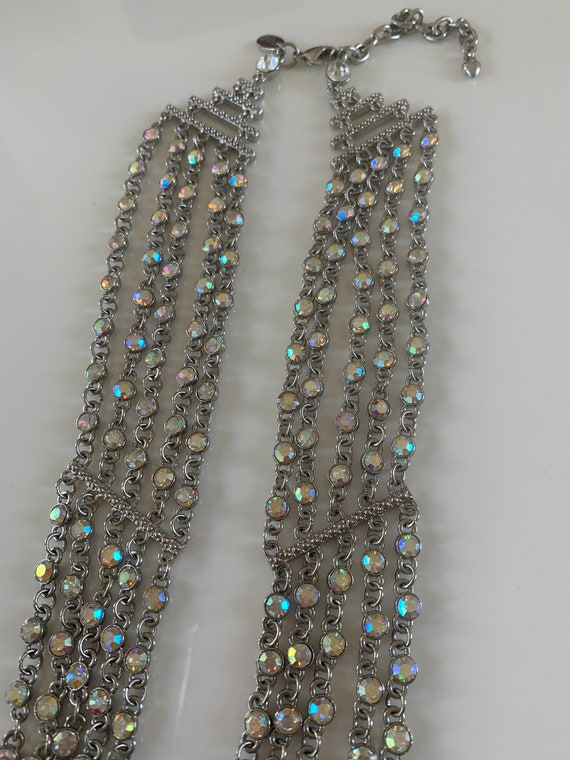 Silver Iridescent 5 Strand Necklace Designer: Arn… - image 9