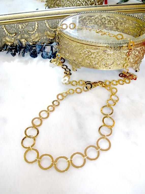 Vintage Signed Joan Rivers Gold Ring Necklace