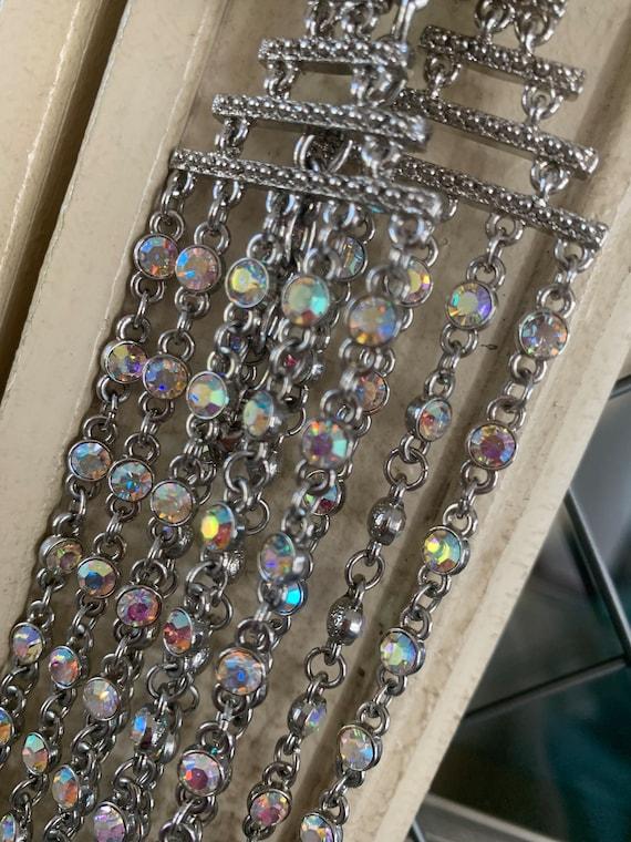 Silver Iridescent 5 Strand Necklace Designer: Arn… - image 7
